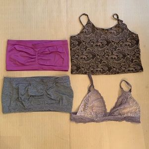 2/$25 - A Lot of 4 bralets - Sizes Medium to Large